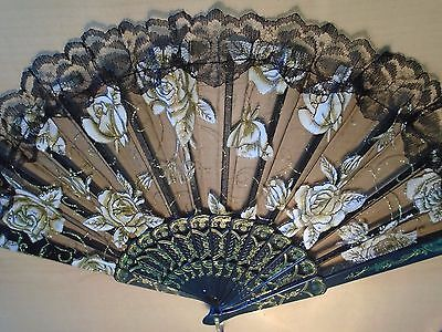 2 Different Lacey Hand Held Folding Spanish Fan Black & White NEW