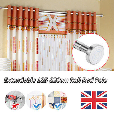 Telescopic Silver Shower Curtain Rail Extendable Pole Rod Bath Window Curtain UK