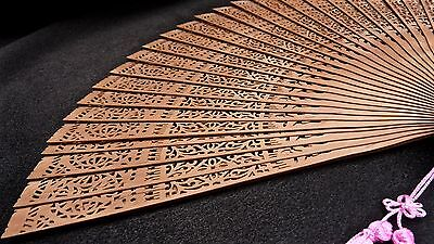 Vintage Antique Chinese Folding Wooden Laides Hand Fan Circa Pre 1950
