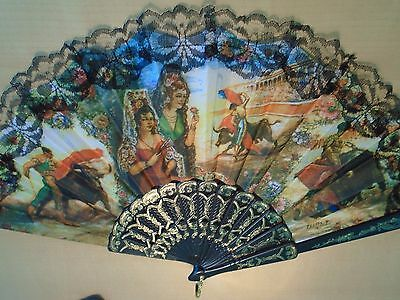 2 Different Hand Held Folding Spanish Fan NEW