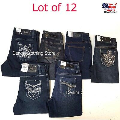 12pc Women Rhinestone Skinny Plain Blue Jeans  Mix Size Denim Wholesale Lot 0-17