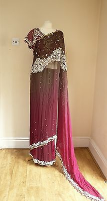"rose pink / taupe pre-pleated 44"" blouse diamante stoned  SARI lengha SA13648"