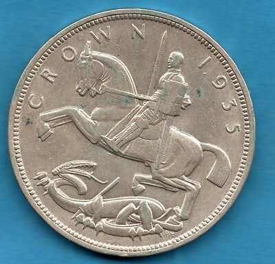 1935 King George V Silver Crown Coin With George & Dragon, Art Deco Influence