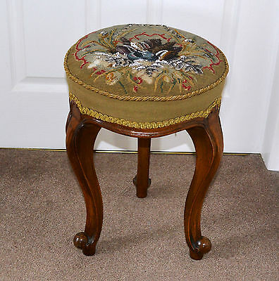 Antique Victorian Walnut Stool with Original Embroidery