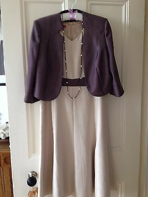 Jacques Vert Wedding Outfit-Dress And Jacket Champagne/taupe Size 14 Worn Once