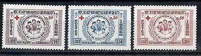 Cambodia.  1959.  Red Cross Fund.   SG95-97.  Mint.
