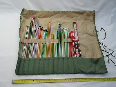 vintage knitting needles hand made storage pouch roll case ,
