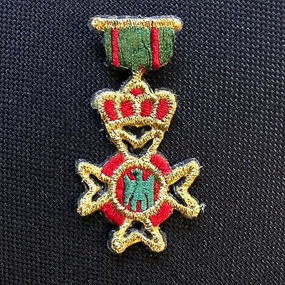 Military Medal Embroidered Iron On Sew On Patch Badge Red Gold Green 5.5cm x 2cm