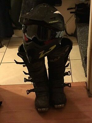 Motocross Helmet With Goggles And Motocross Boots