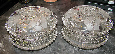 2 Clear Glass Covered Powder Pin Trinket Vanity Jars frosted flowers