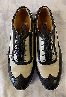 FootJoy Europa Collection Women's Golf Shoes Size 8.5M Black & Beige Wingtips
