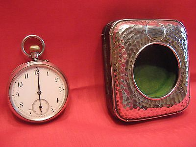 Working 1912 Solid Silver Pocket Watch & Planished Faced Desk Watch Holder.