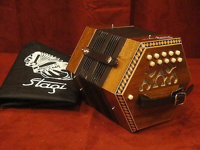 NEW Stagi C-1 Mahogony Anglo Concertina M 20, C-G, Made in Italy, Carrying Sack