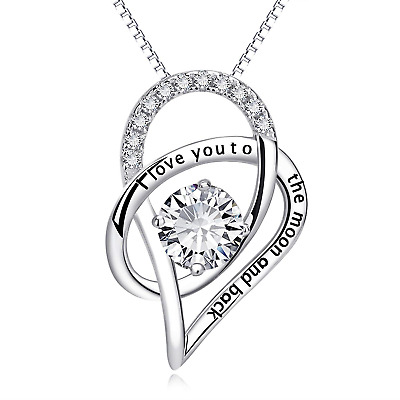 Jewelry 925 Sterling Silver Love Heart Pendant Necklace Chain Women Fashion Gift