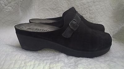 Black Suede leather Mephisto clogs mules size 40, 9.5 women's US