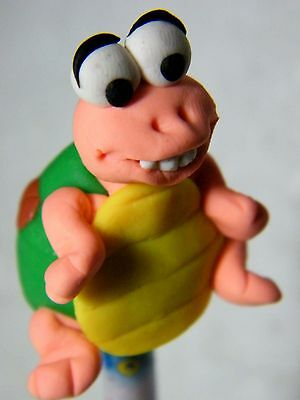 Polymer Clay Lovely Turtle Figurine Act On Top Of Wooden Pencil No.01