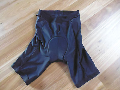 Men's Elasticated Waist Black Padded Cycling / Bike Shorts By Fluid - Size M