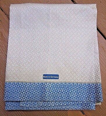 Rare Blue/White Antique New Old Stock German Linen Damask Geometric Towel DECO