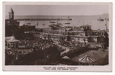 PAVILION AND HARBOUR, KINGSTOWN, DUBLIN - Real Photo Vintage Postcard (1907)