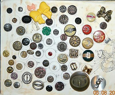 Card Of 62 Vintage Antique Buttons Buckles & Bows Glass Metal Celluloid Variety