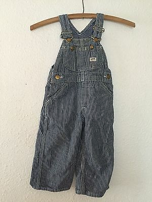 VINTAGE 50's Lee Kids Hickory Stripe Railroad Overalls Union Made Sanforized EUC