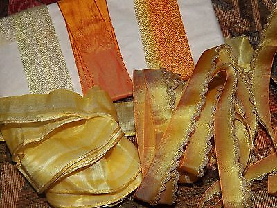 9yd Lot Antique Vintage 1910/30 Ombre Yellow to Oranges & Metallic RIBBONS Trim