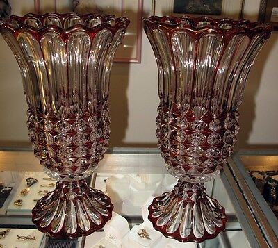 """Unusual Pair 12"""" Art Deco Ruby Flashed Glass Mantle Candelabras Beautiful ca1915"""