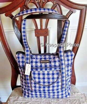 Longaberger Blue Red Ribbon Plaid Quilted Faux Leather Trim Bag Tote New Tag