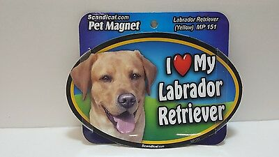 "Scandical I Love My YELLOW LABRADOR Dog Laminated Car Pet Magnet 4""x6"" MP 151"