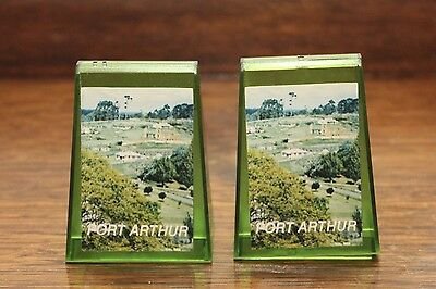 Vintage Port Arthur Souvenir Salt & Pepper Shakers - Green Plastic - GVC