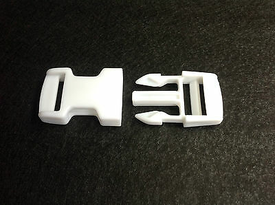 NEW 25mm Heavy Duty WHITE PLASTIC SIDE RELEASE BUCKLES - Pack of 2