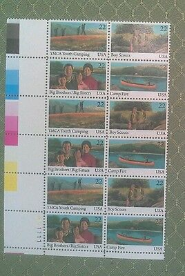US Stamp scott 2160-63 YMCA youth camp Boy Scouts Big Brothers Campfire PB12 MNH