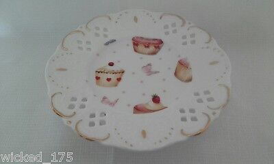 Fine CHINA Cupcake/Muffin plate - Cup Cakes N Butterflys Design gold accents