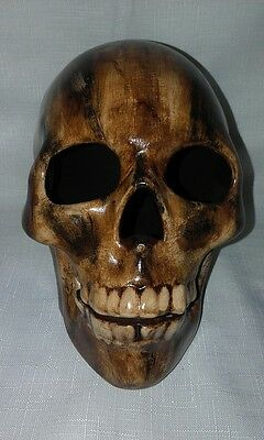 Woodgrain Look Ceramic Skull  - Hand Made And Painted In Australia
