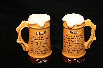 Vintage Pialba Souvenir Salt and Pepper Shakers - Foamy Beer Stiens - GVC