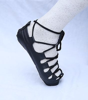 Irish Pump Dance Shoes  In Black Genuine Leather Unisex Fitting