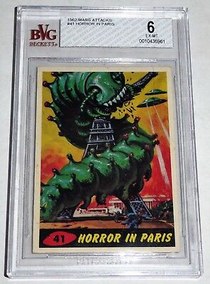 1962 Topps Bubbles Mars Attacks Card Horror in Paris #41 Horror War UFO BGS 6