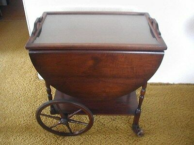 Antique Drop Leaf Tea Cart with Drawer and Removable Glass Tray 1800's