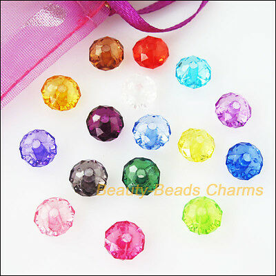 80Pcs Mixed Plastic Acrylic Clear Faceted Round Flat Charms Spacer Beads 10mm