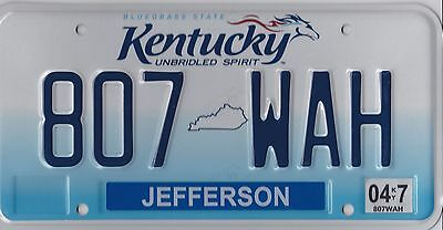 AUTHENTIC USA 2010's  KENTUCKY LICENSE PLATE.  JEFFERSON COUNTY