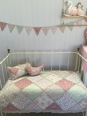 4pc Lila Cot Quilt Bunting Bird Rectangle Cushion Shabby Chic Nursery Bedding