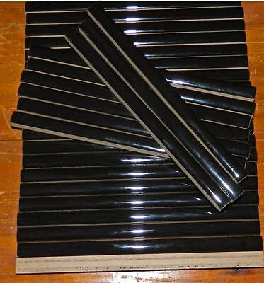 VINTAGE Set of 33 Black Ceramic Highlight Tiles 20 cm x 1.4 cm