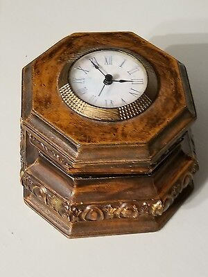 Antique Wooden Box with Clock