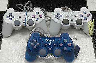 Lot Of 3 Playstation Ps1 Dual Shock Controllers White Psone Broken ~Sold As-Is~