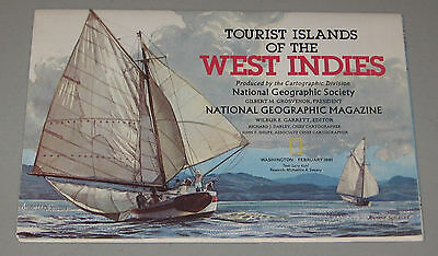 National Geographic Map Tourist Islands Of The West Indies - February 1981