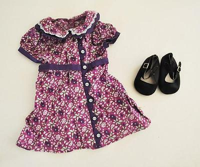 *American Girl* Doll Ruthie RARE Meet Dress Mary Janes Shoes LOT Calico Purple