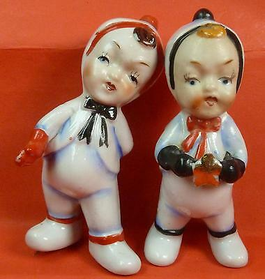 Vintage Pair Japan Porcelain Christmas Figurines Kids in Snowsuits One With Star