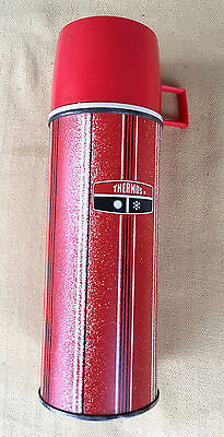 1969 King Seeley Thermos 2210 Red Stripe One Pint Hot Cold Drinks Excellent