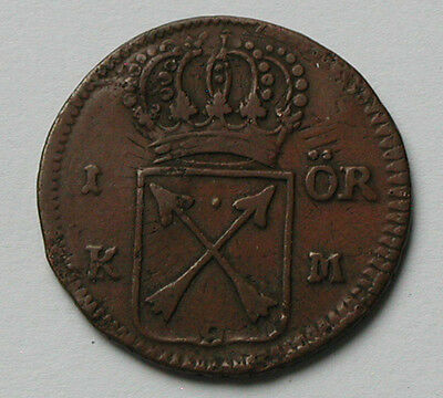 1721 SWEDEN Frederick I Coin - 1 Ore - OVERSTRUCK on 1718 copper Daler (Phoebvs)