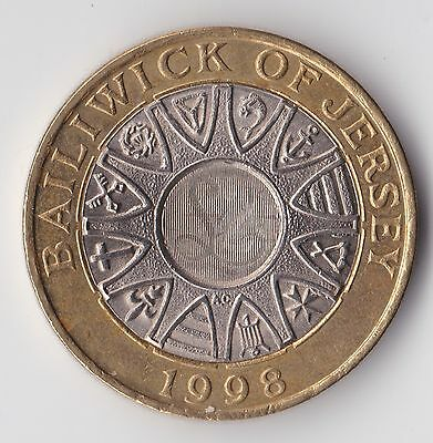 Jersey, Elizabeth II, Two Pounds 1998, Circulated, WB1799